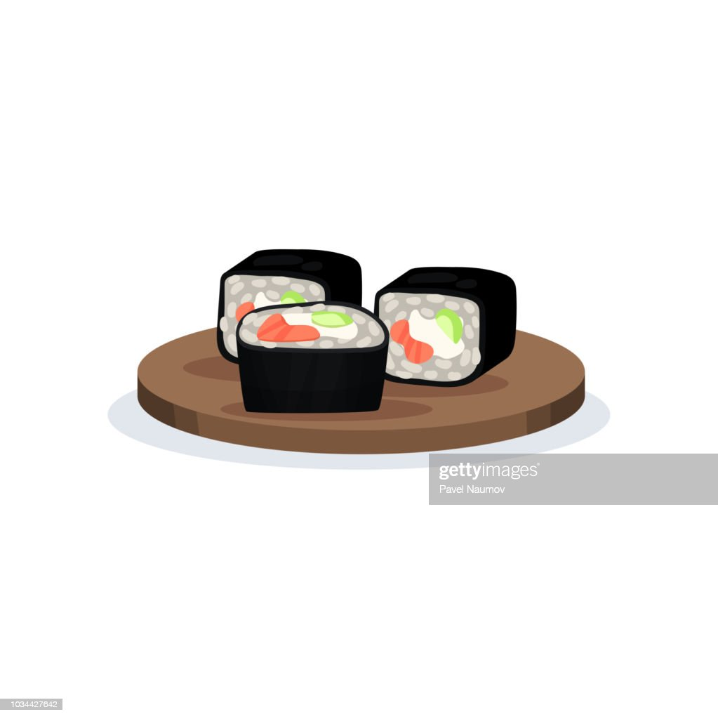 Sushi rolls with nori, rice and salmon, traditional Japanese cuisine food vector Illustration on a white background