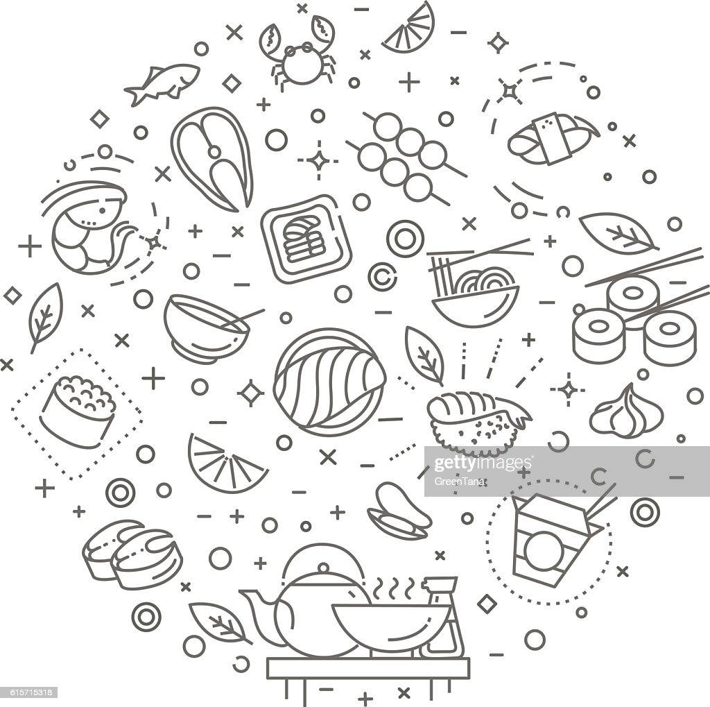Sushi, seafood outline symbols. Vector illustration