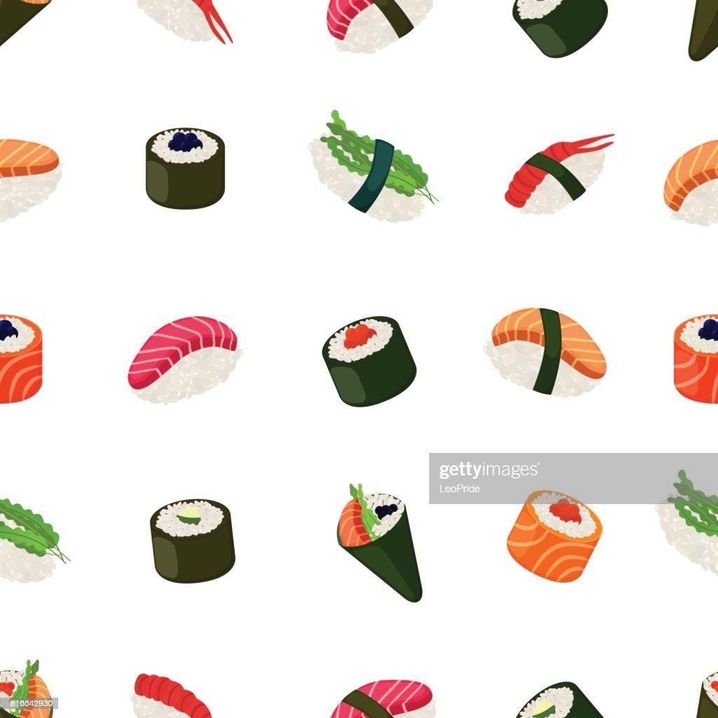 Sushi seamless pattern - asian food with fish, rice, seaweed, caviar