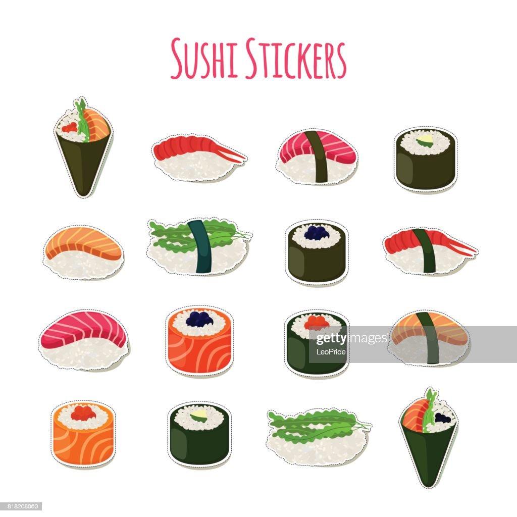 Sushi set stickers, labels, logos. Asian food. Vector illustration