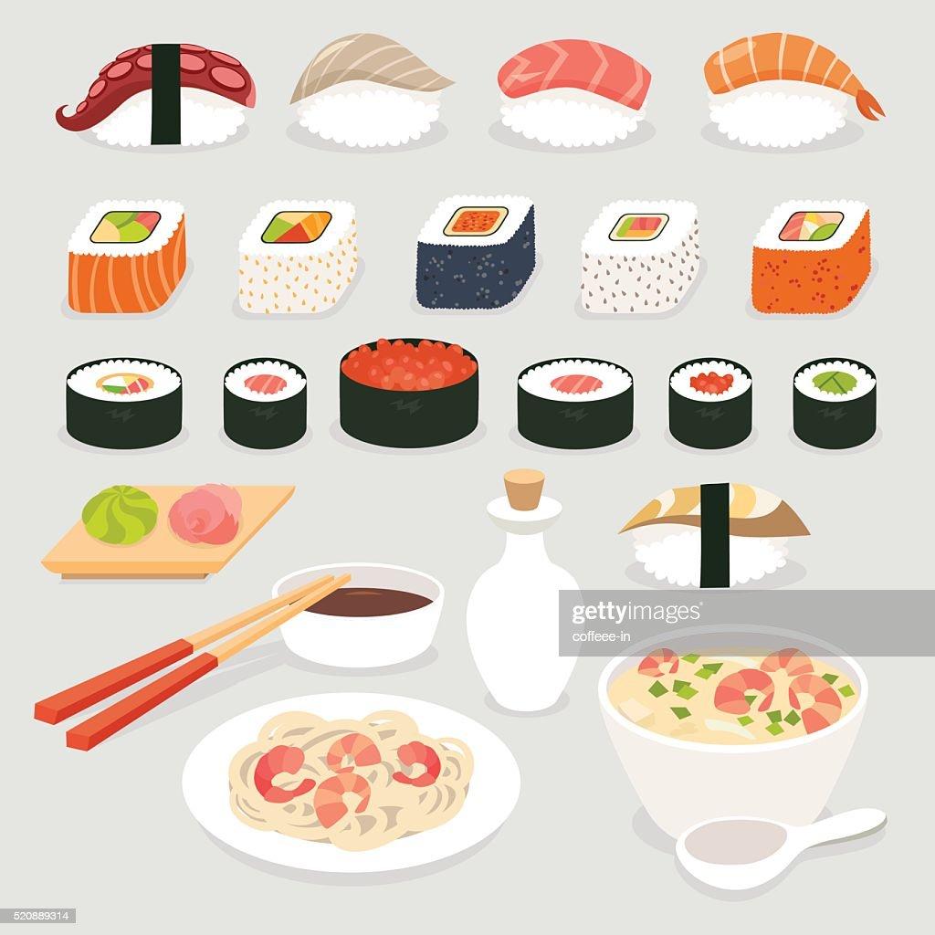 Sushi set. Sushi vector cartoon style.Japanese food objects set