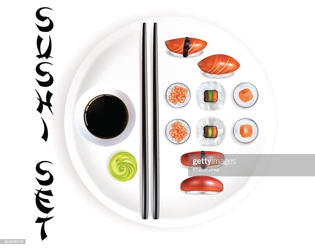 Sushi Set. Vector Illustration