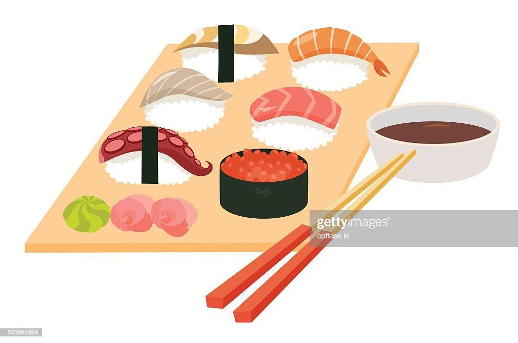Sushi set vector.Shrimp sushi, Octopus, Salmon fish sushi