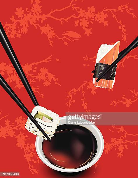 sushi template or background with sakura and soy sauce - dipping stock illustrations, clip art, cartoons, & icons