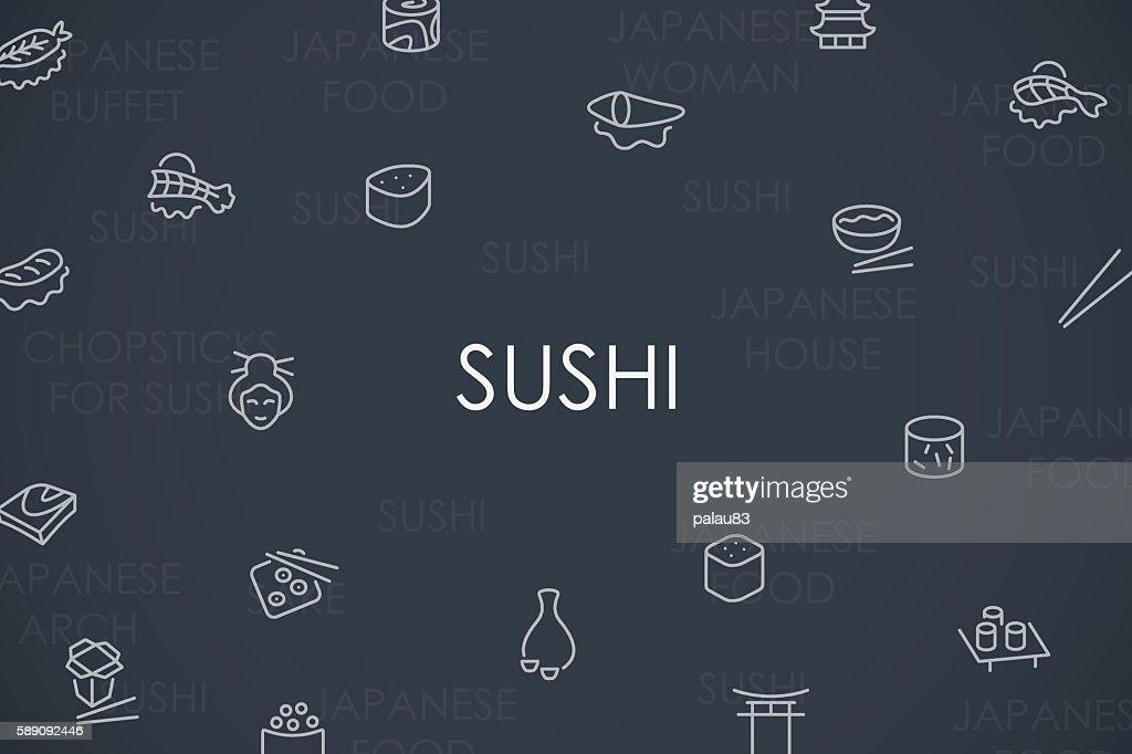 Sushi Thin Line Icons