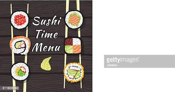 sushi time menu - chopsticks stock illustrations, clip art, cartoons, & icons