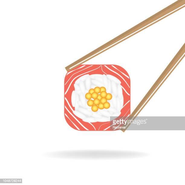 sushi - chopsticks stock illustrations, clip art, cartoons, & icons