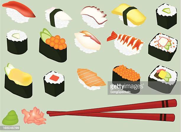 sushi - clip art stock illustrations, clip art, cartoons, & icons