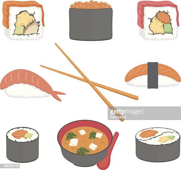 寿司ベクトルイラストセット