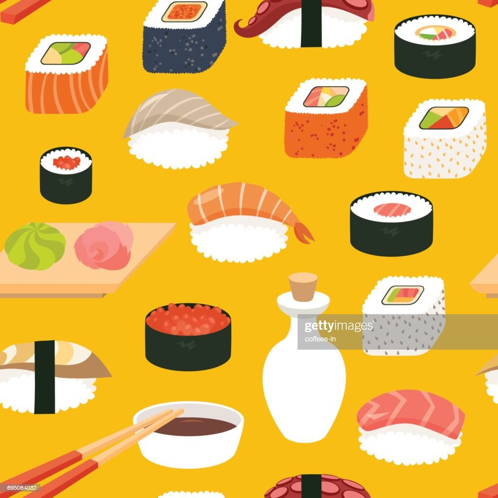 Sushi vector seamless pattern, cartoon style