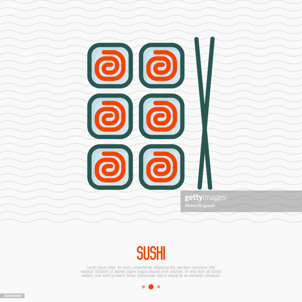 Sushi with chopsticks thin line icon for menu of restaurant or logo. Simple vector illustration of Japanese food.