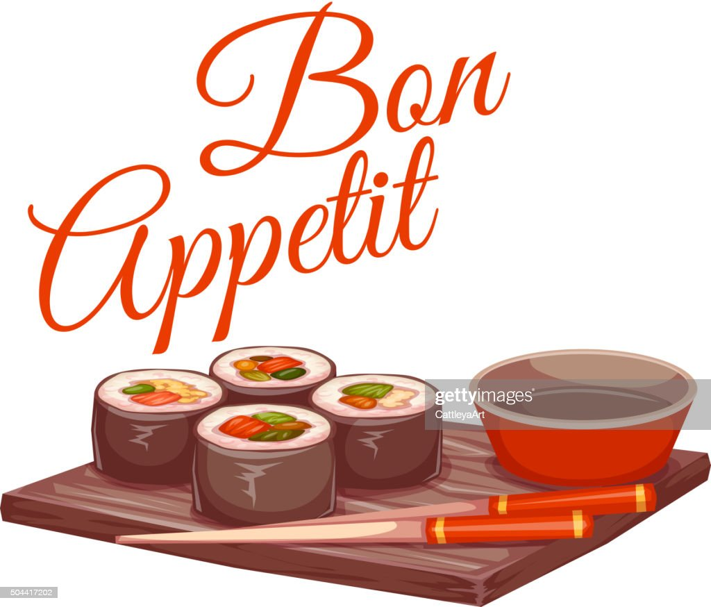 Sushi with sauce and chopstick on plate. Bon appetit. Vector