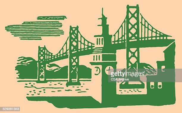 suspension bridge and clock tower - steeple stock illustrations, clip art, cartoons, & icons