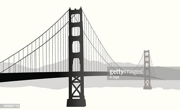 suspension bridge vector silhouette - golden gate bridge stock illustrations