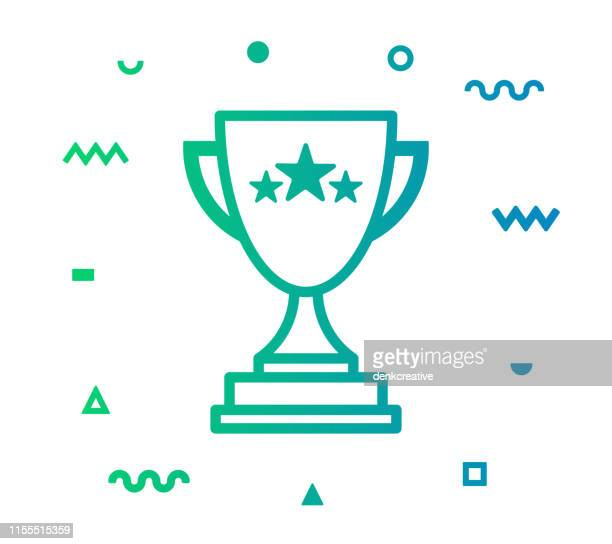 sustainability awards line style icon design - sportchampion stock-grafiken, -clipart, -cartoons und -symbole