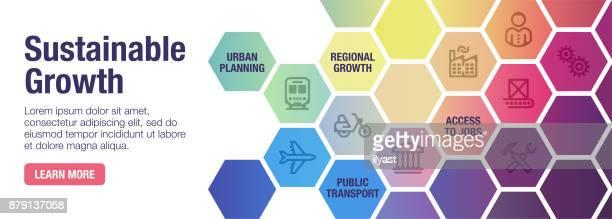 sustainability banner - hexagon stock illustrations