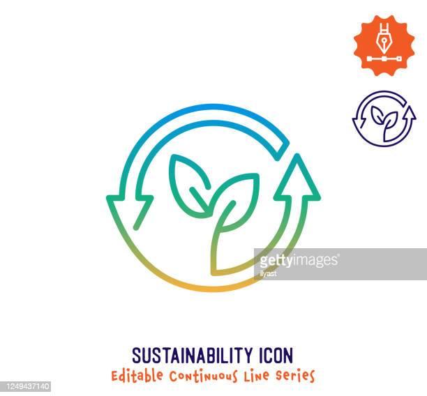 illustrations, cliparts, dessins animés et icônes de icône d'édition de ligne continue de durabilité - développement durable