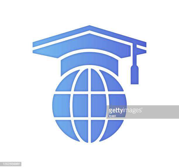 sustainability education gradient color & papercut style icon design - education building stock illustrations