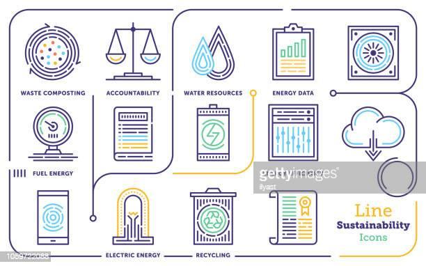 sustainability & governance line icon set - prosperity stock illustrations