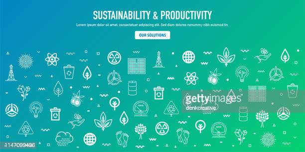 sustainability & productivity outline style web banner design - weather stock illustrations