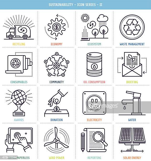 Sustainability Reporting Icons Set