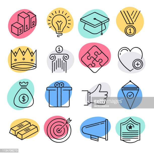 illustrazioni stock, clip art, cartoni animati e icone di tendenza di sustainable business goals doodle style vector icon set - dedizione