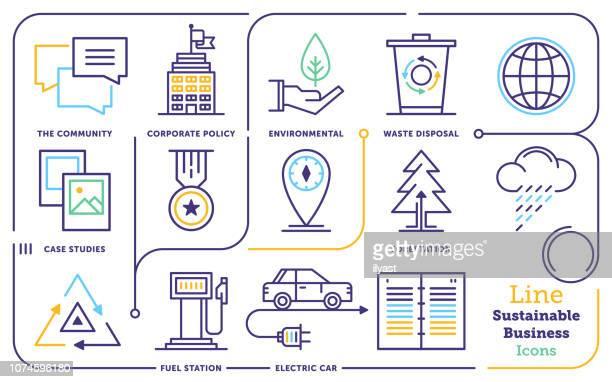 bildbanksillustrationer, clip art samt tecknat material och ikoner med hållbart företagande linje ikonuppsättning - klimatförändring