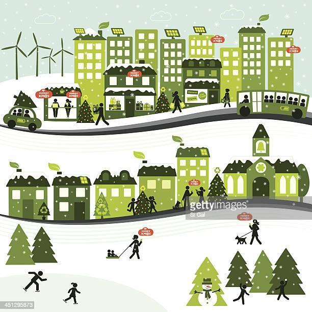 bildbanksillustrationer, clip art samt tecknat material och ikoner med sustainable christmas city - solenergi