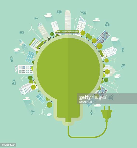 sustainable city bulb concept including icons set - electricity stock illustrations, clip art, cartoons, & icons