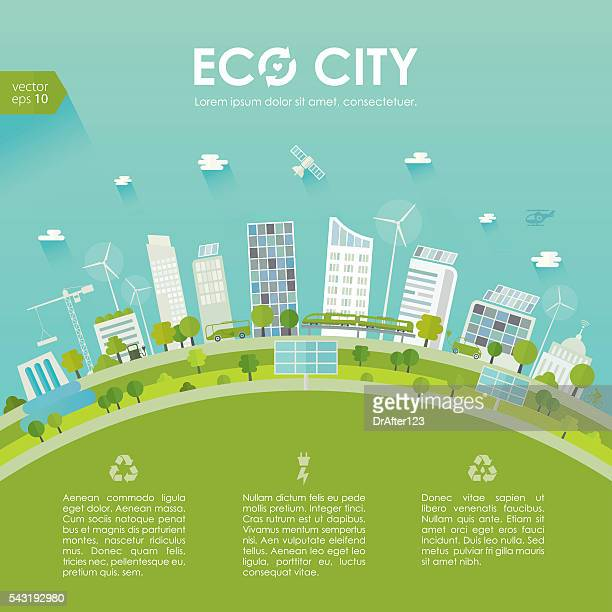 sustainable city concept - skyscraper stock illustrations