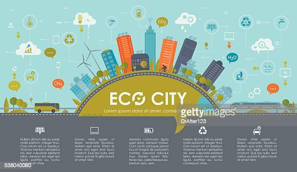 sustainable city infographic landscape - irrigation equipment stock illustrations