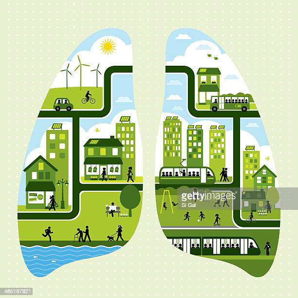 ilustraciones, imágenes clip art, dibujos animados e iconos de stock de transporte de la ciudad de estilo de vida sostenible - sistema respiratorio
