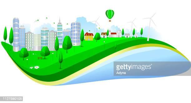 ilustraciones, imágenes clip art, dibujos animados e iconos de stock de ciudad sostenible - energias renovables