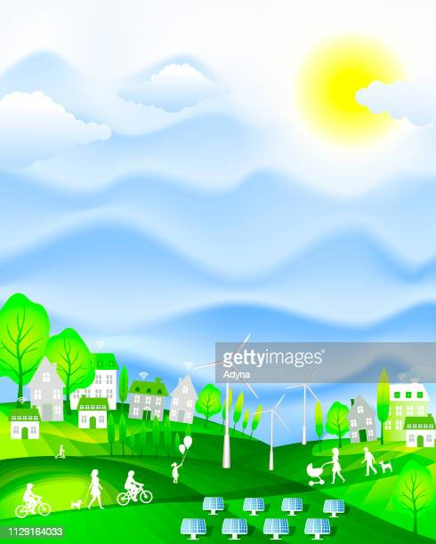sustainable  city - environmental issues stock illustrations