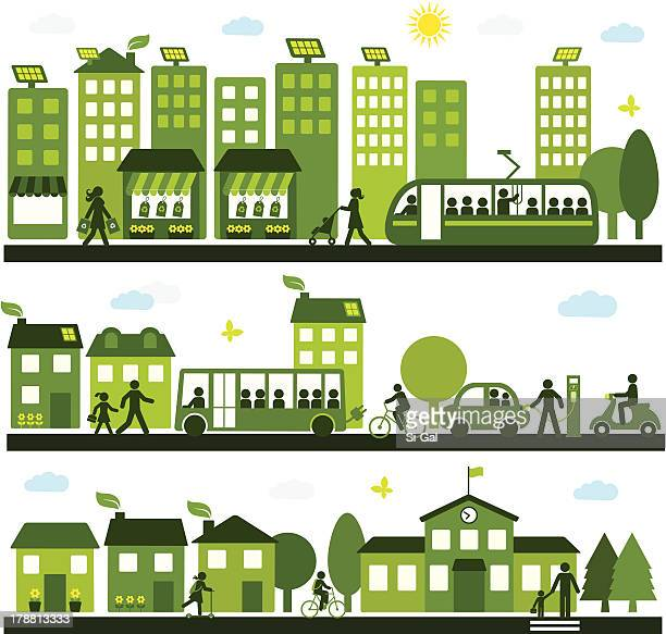 sustainable city - house exterior stock illustrations, clip art, cartoons, & icons