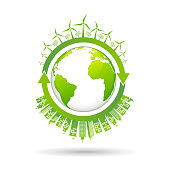 Sustainable development and renewable energy for clean and green city of the world, vector illustration