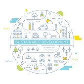 Sustainable Development and Sustainable Living Implementation Concept Line Art Illustration