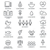 Sustainable Development Goals and Sustainable Living Implementation Concept Line Art Vector Icons
