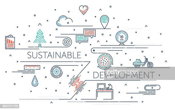 sustainable development - dotted line stock illustrations