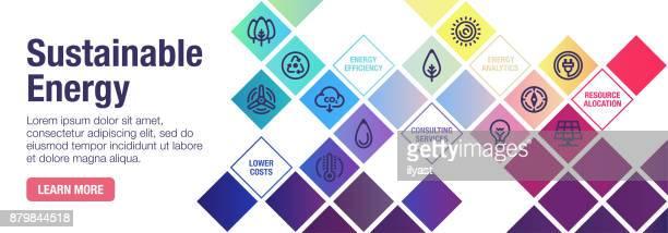 ilustraciones, imágenes clip art, dibujos animados e iconos de stock de bandera de energía sostenible - ecosistema