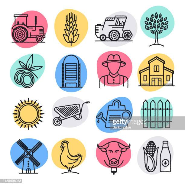 sustainable food production doodle style vector icon set - tractor stock illustrations