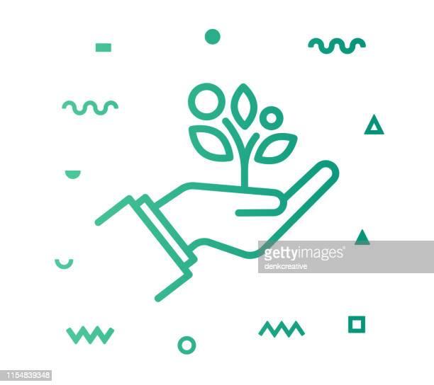 ilustraciones, imágenes clip art, dibujos animados e iconos de stock de estilo de vida sostenible diseño icono de línea - agarrar