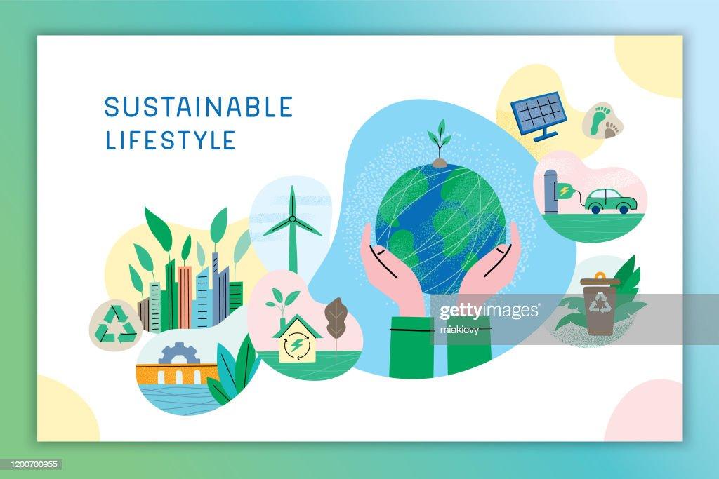 持続可能なライフスタイル : ストックイラストレーション