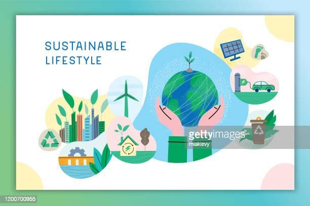 sustainable lifestyle - sustainable lifestyle stock illustrations