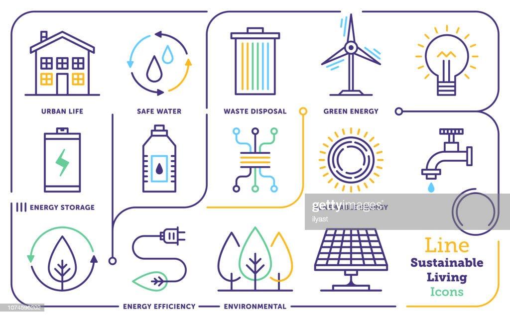 Hållbar livsstil linje Ikonuppsättning : Illustrationer