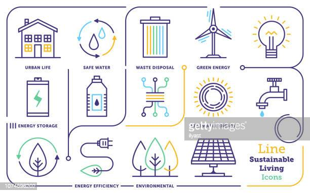 sustainable living line icon set - fuel and power generation stock illustrations