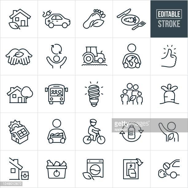 stockillustraties, clipart, cartoons en iconen met duurzaam leven thin line iconen - bewerkbare lijn - verantwoordelijkheid