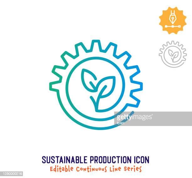 bildbanksillustrationer, clip art samt tecknat material och ikoner med ikon för hållbar produktion kontinuerlig linjeredigerbar - hållbar energi