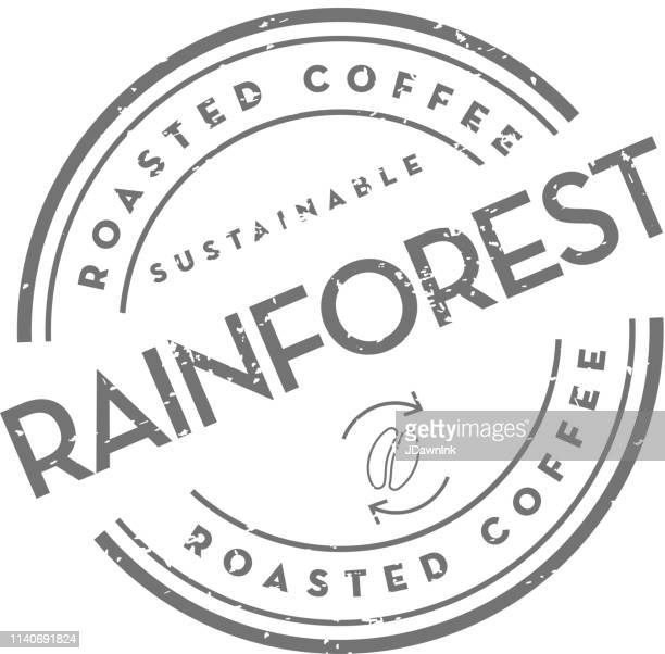 sustainable rainforest roasted coffee round labels on coffee bean on white background - coffee stock illustrations