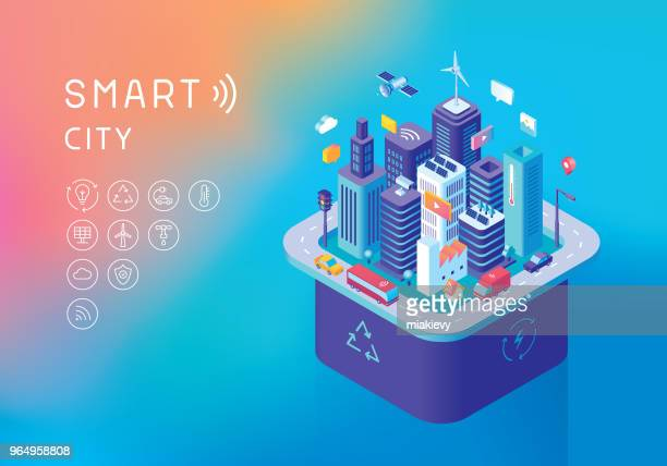 sustainable smart city concept - security camera stock illustrations